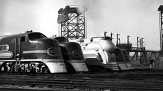 """marmarinou: Caption: """"Power for the Chiefs. Line up of new power at the Santa Fe coach yard in Chicago."""" February 2, 1938 Photo by William Ranke"""