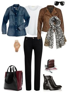 Casual layers: long tshirt, chambray open, short jacket, jeans, boots, untied scarf