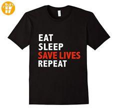 Funny Eat Sleep Save Lives Repeat EMTs,Firefighters Nurses Herren, Größe M Schwarz (*Partner-Link)