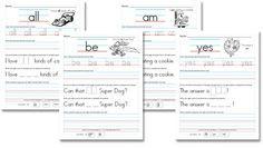Free Worksheets: Kindergarten (Primer) Sight Word Sentences at Confessions of a Homeschooler