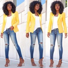 Satin Lapel Blazer x Distressed Jeans. Link in bio for details...