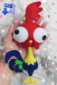 plush pattern, Cock toy pattern, Hei Hei pattern, Rooster pattern toy, Toy with your own hands, Bird of felt, Hei Hei Princess Moana,