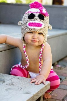 12. Sock #Monkey Crocheted Girl's Hat - 40 Sock Monkey #Projects to Raise a #Smile or Two ... → DIY #Booties