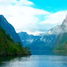 """""""Sogne-fjord from boat ⛵ #travel #adventure #norway #sognefjorden #fjord #sogreen #water #mountain #mountains"""""""