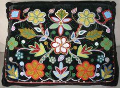 Native American Metis OJIBWE Indian Beadwork Glass Bead on Black Velvet Pair | eBay