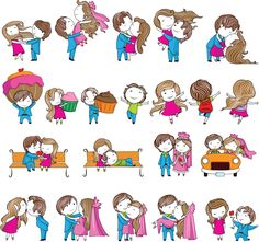 Cute couples in love - cartoon boy and girl in different poses, kissing, hugging, having fun, dancing, sitting and lying on a bench, man gives flowers, are holding a huge cake and other. In archive 1 files and more than 15+ couples in love templates for your wedding and love designs. File in .eps (or .ai) format, size 2.18 MB, created by using vector graphics for Adobe Illustrator CS or CorelDRAW with free download. Ready for print. License: for personal use only. See more: valentine vector…