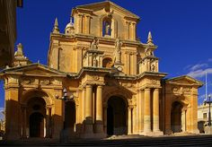 The facade of the Church of Nicholas in Siggiewi, Malta