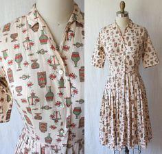 vintage 50's day dress / novelty print shirtdress by GazeboTree