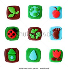 Ecology plasticine icons on white background,