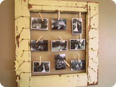 Photo display idea via itsrusticliving.blogspot.com.