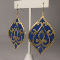 Morrocan Blue Enameled Bronzed Tear-shaped Dangle Earrings | eBay