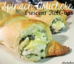 Spinach-Artichoke Crescent Roll-ups. Costco ladies did this with their lite spinach dip and I dreamed about this for days after!!