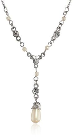 """Downton Abbey """"Carded"""" Silver-Tone Pearls Crystal Adjustable Pendant Necklace, 16"""" Downton Abbey http://www.amazon.com/dp/B00H4W7N66/ref=cm_sw_r_pi_dp_CzdVub0R4H763"""