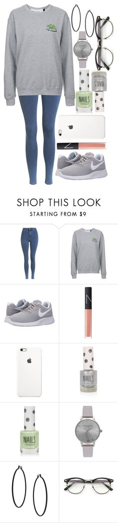 """Untitled #423"" by leahgomezanderson on Polyvore featuring Topshop, NIKE, NARS Cosmetics and Olivia Burton"