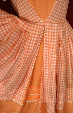 Orange & White Gingham Dress with White RicRac Edging ....