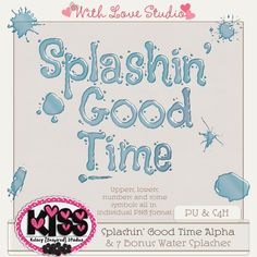 Splashin' Good Time alpha from Kelsey Inspired Studios perfect for digital or hybrid  scrapbooking, These fun alphas can be used in lots of fun creative projects.
