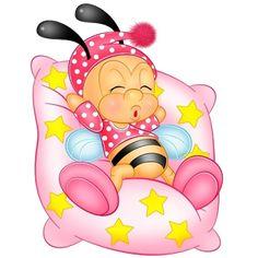 Aranyos kislány Cartoon Bee Sleeping On Pink párna Honey Bee Cartoon, Cartoon Bee, Bee Pictures, Bee Images, Good Night Wishes, Cute Bee, Bee Happy, Animals Images, Kids Cards