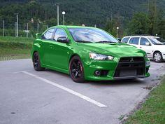 Green Mitsubishi Lancer Evolution X