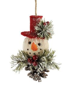 Another great find on #zulily! Snowman Pinecone Ornament #zulilyfinds