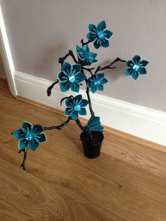 Teal twig tree, made by EverlastingFold :)