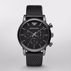 Emporio Armani Mens AR1737 Classic Chronograph Black Leather Watch New