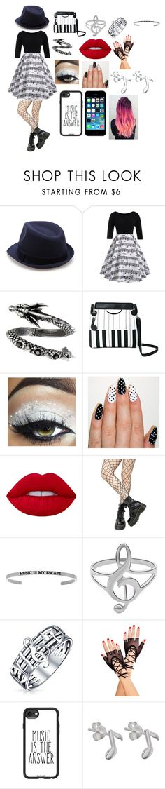 """""""outfit 2"""" by ally-cat-369 ❤ liked on Polyvore featuring Lime Crime, FingerPrint Jewellry, Leg Avenue, Bling Jewelry, Music Legs and Casetify"""