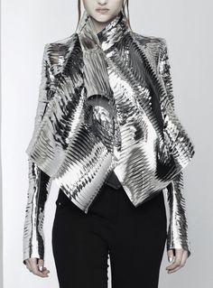 Sculptural Fashion - silver laser cut jacket; avant garde futuristic fashion // Gareth Pugh Spring 2011