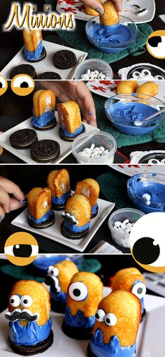Despicable Me Minion Cake- Marshmallow Evil Minions With Jolly Rancher Hair and Banana Twinkie Minions Atop Oreo Cookies. Visit Site For How To Pins!