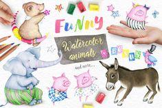 40%OFF! Watercolor Animals + BONUS by Eva-Katerina on @creativemarket