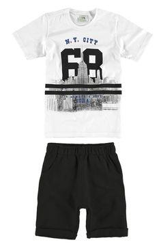 Conjunto infantil Camiseta e bermuda Fashion Kids, Moda Plus Size, Baby Head, New Kids, Bermuda, Boy Outfits, Boy Clothing, Clothes, Lifestyle