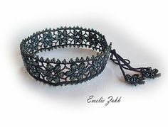 Choker victorian crochet lace and bead necklace.Antique Renessance jewelry.Gothick Romantique.Choker necklace.Black lace .Beaded necklace by ezdessin. Explore more products on http://ezdessin.etsy.com
