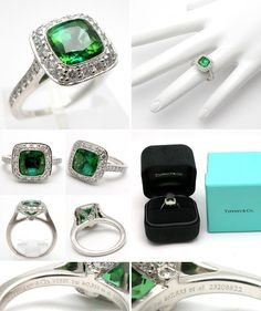 TIFFANY & CO LEGACY COLLECTION ENGAGEMENT RING GREEN TOURMALINE & DIAMOND RING SOLID PLATINUM
