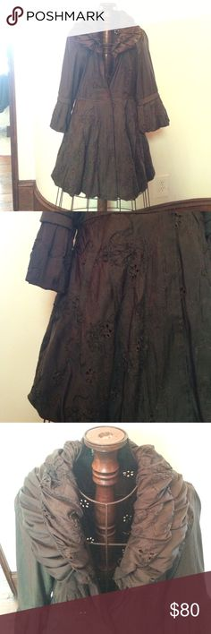 "Damee, Inc jacket Gorgeous dark brown Damee, Inc jacket. Has a beautiful design all over as shown in pictures. The collar has design too as shown in pictures. Perfect this fall over dresses or with jeans. Mostly polyester. 32"" from shoulder down. Jackets & Coats"