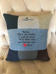 Memory pillows - QUILT PILLOW Memory pillow from loved ones shirt memorial pillow Keepsake Pillow Memorial Pillow Heart pillow patchwork pillow – Memory pillows Memory Pillow From Shirt, Memory Pillows, Memory Quilts, Sewing Hacks, Sewing Crafts, Sewing Projects, Sewing Tips, Sewing Ideas, Patchwork Pillow