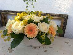 floral arrangement with germini, roses and spray- floraria miozotis Wedding Bride, Wedding Flowers, Floral Arrangements, Brides, Floral Wreath, Wreaths, Weddings, Rose, Home Decor