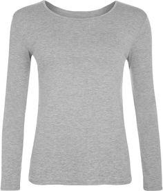 3e1cd57a0fc Women New Long Sleeve Plain Look Ladies Stretch T-Shirt Top Plus Size Round  Neck Plain Ladies Sleeve