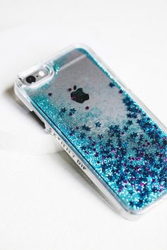 Liquid Glitter iPhone Case | Protect your phone with this plastic iPhone case made with liquid glitter and stars.  Comes with a scratch resistant screen protector.