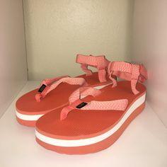 a5e12d1dda85 Orange platform Teva sandals MORE PHOTOS COMING SOON a to - Depop Summer  Things