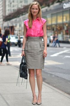 Marry a deep pink shortsleeve button down shirt with a grey pencil skirt if you're going for a neat, stylish look. Grey suede pumps are a savvy choice to complete the look.  Shop this look for $132:  http://lookastic.com/women/looks/shortsleeve-button-down-shirt-pencil-skirt-pumps-tote-bag-watch/7011  — Hot Pink Short Sleeve Button Down Shirt  — Grey Pencil Skirt  — Grey Suede Pumps  — Black Leather Tote Bag  — Silver Watch