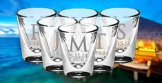 FIFTY Personalized Shot Glass Gift Wedding Gifts Whiskey Custom Glass Shooter Etched Glass Engraved Glass Gift Favor Glassware Bar