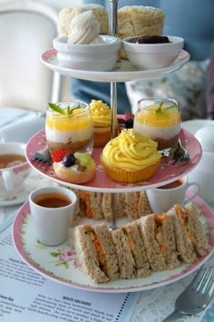 Afternoon tea with tea sandwiches, soup, mini fruit tarts, cupcakes, scones, pudding