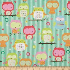 Riley Blake Owl & Co. Owl Main Teal from @fabricdotcom  Designed by RBD Designers for Riley Blake, this cotton print is perfect for quilting, apparel and home decor accents. Colors include brown, pink, green, orange, yellow, blue and white.