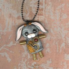 Steampunk Bunny Rabbit Easter Robot Necklace Polymer by Freeheart1, $22.00 - Sarah