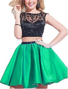 BessDress Short Two Piece Sheer Neck Homecoming Lace Beads Prom Party Gwns BD146 -- Check out the image by visiting the link. Note: It's an affiliate link to Amazon.