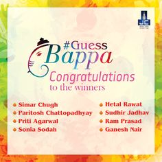 Thank you for such Tremendous response! Congratulations to the winners of #GuessBappa Contest. Others don't be disheartened we have more such contest coming up. Stay Tuned! Simar Chugh Hetal Rawat Paritosh Chattopadhyay Sudhir Jadhav Priti G. Agarwal @Ram Prasad @Sonia Sodah  @Ganesh vasudevan