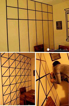 Decorar paredes com fita isolante - Casa com comida