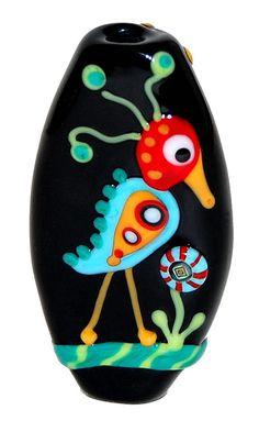 Folk Art Imagination Birds - Glass Lampwork Focal Tab Bead by Lissa Juedemann $48