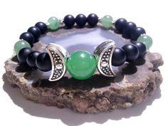 Moon Goddess, Stretch Bracelet, Wiccan, Pagan, Metaphysical Jewelry, New Age, Priestess, Triple Moon, Hand Fasting, Black Onyx, Aventurine by MoonMajickStudio on Etsy