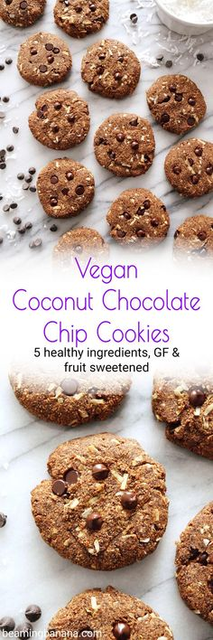 Vegan coconut chocolate chip cookies are soft gooey and full of chewy coconut and rich melty chocolate! They're made with just 5 healthy ingredients gluten free and fruit sweetened. Vegan Desserts, Vegan Recipes, Free Recipes, Vegan Sweets, Healthy Sweets, Snack Recipes, Healthy Eating, Easy Cookie Recipes, Whole Food Recipes