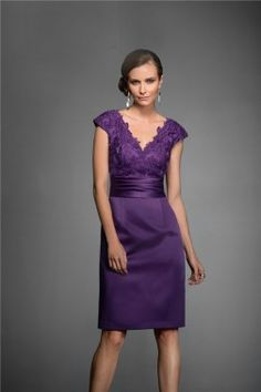 V Neck Cap Sleeve Short Purple Satin Lace Mother Of The Bride Evening Dress
